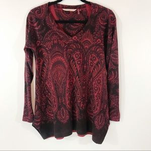 Soft Surroundings Paisley Sweater, Black/Red, PS